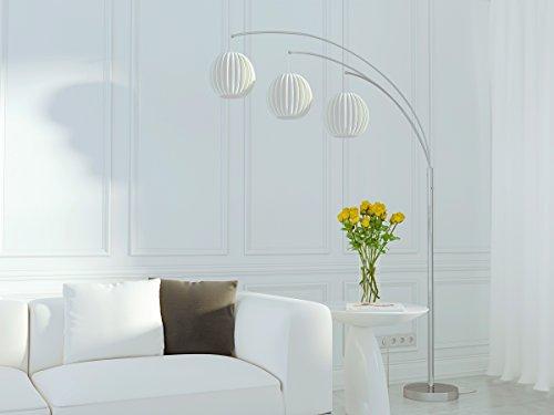 Lite LS-8871PS/WHT 3-Lite Arch Lamp, Polished
