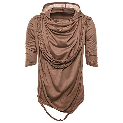 Summer Solid Color Hip Hop Rope Hooded Short Sleeved Shirt Fashion Men Casual Slim Hoodie Top ()