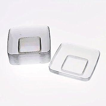 Exquisite Plastic Mini Square Appetizer Plates - 120 Ct Square plastic Dessert Plates - 2.4 Inch & Amazon.com: Exquisite Plastic Mini Square Appetizer Plates - 120 ...