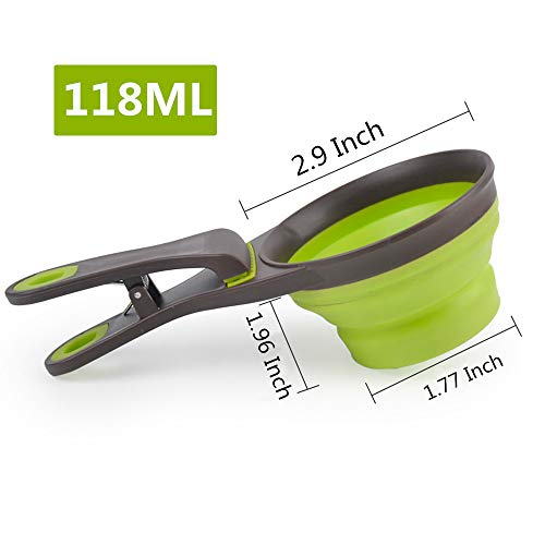 THE MIMI'S Pet Dog Cat Folded Food Scoop Spoon Sealing Clip Measuring Cup,Collapsible Storage Puppy Bowl Doggie Snack Measuring Cup (1/2 Cup - Bag Food Pet Clip