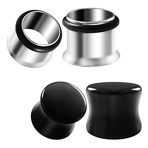 2 Pairs Stainless Steel Gauges 12 mm Single Flesh Tunnel Black Stone Onyx Double Flared Saddle Piercing Ear Lobe Plugs ()