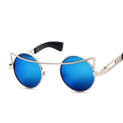 B dressy new personality fashion sunglasses sunglasses street men and women glasses,Gold frame gold reflective (In The Night Halloween Lyrics)