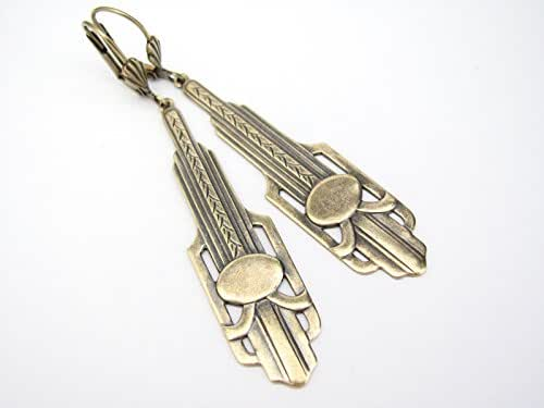 Art Deco Design Earrings Long Chandelier Drops Antiqued Gold-tone