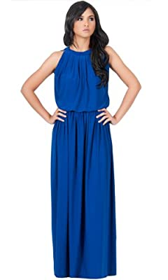 KOH KOH Womens Long Sexy Sleeveless Summer Formal Flowy Casual Gown Maxi Dress