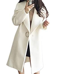 Domple Women's Solid One Button Lapel Wool Blend Thicken Jacket Coat