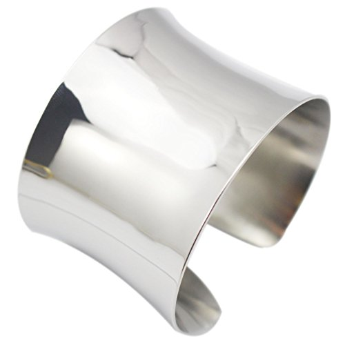 COUYA Silver Wide Grooved Cuff Bangle Women Girls Stainless Steel Shiny Punk ()