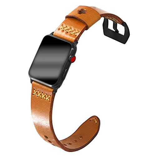 Dynasty Leather Watch (Apple Watch Retro Leather Bands, Ezzdo Handmade Bump Genuine Leather Replacement Strap Men Women Brown Bracelet For Iwatch 38mm 42mm Series 1 / 2 / 3 (Light Brown 42mm))
