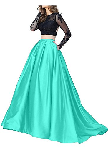 Evening H Dress Pieces Gown Sheer Formal Mint Long Two Women's D Sleeve Cocktail S PTqwPfp