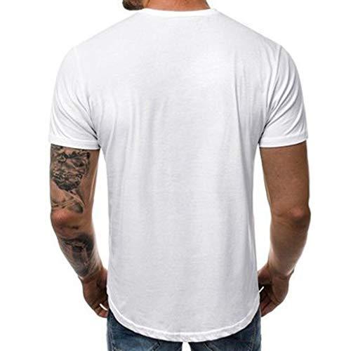 HYIRI Men's Summer New Classic Cute Embroidery Round Collar Blouse White