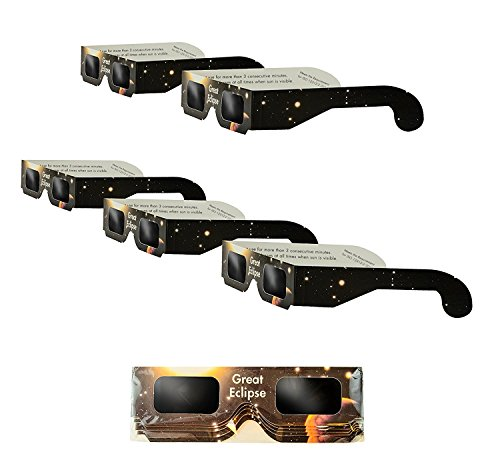Solar Eclipse Glasses | ISO & CE Certified Safe Solar Eclipse Shades | Viewer and Filters | Protection For All Ages (5 Pack) by Great Eclipse