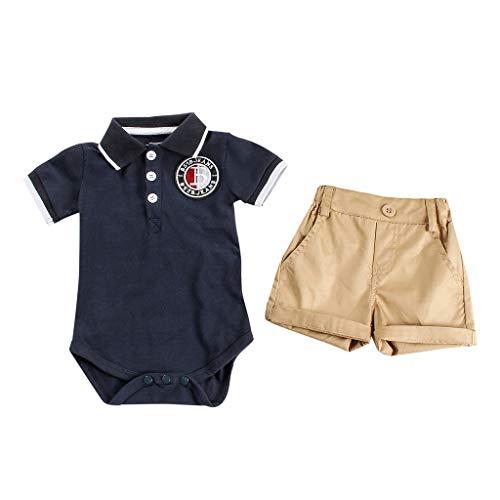 Baby Boys Gentleman Outfits Suits Bodysuit, Infant Short Sve Romper Shirt+Shorts Pants Outfit Set 6M-24M Navy