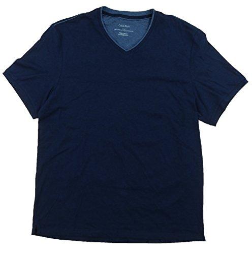 Calvin Klein Mens Pima Cotton V-Neck T-Shirt (X-Large, Blue Heather) Pima Cotton V-neck Tee