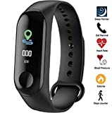 SBA999 Fitness Tracker M3 Band OLED Touchscreen with Heart Rate Monitor Smart Band with Activity Tracker Waterproof Body Functions Sleep/ Heart Rate Monitor, Blood Pressure, Steps/Calorie Counter
