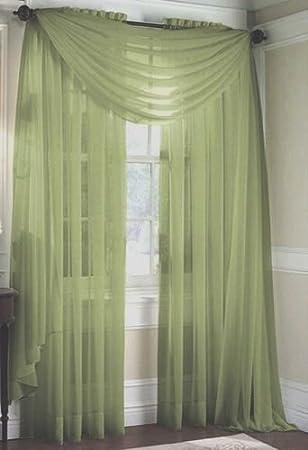 Green Curtains amazon green curtains : Amazon.com: LuxuryDiscounts 2 Piece Solid Sage Green Elegant Sheer ...