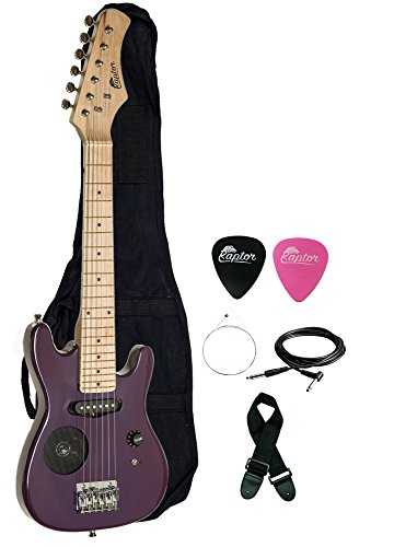 Raptor 30″ Kids Child Starter Electric Guitar with Built-In Speaker with Gig Bag, Strap, Cable, Replacement Strings and RAPTOR Picks (PURPLE)