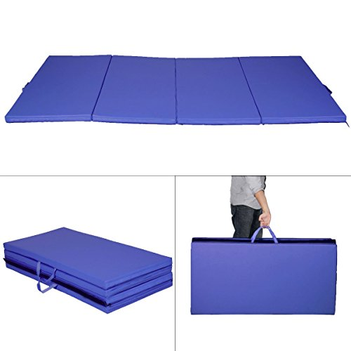 New Blue 4'x8'x2'' Thick Folding Panel Gymnastics Mat Gym Fitness Exercise Mat by Exercise Mats