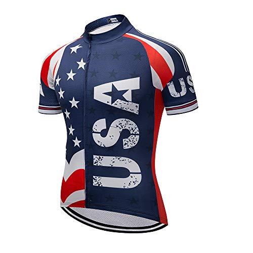 - Men's Cycling Jersey Short Sleeve Full Zip Running Top - Bike Shirt USA Style XXL
