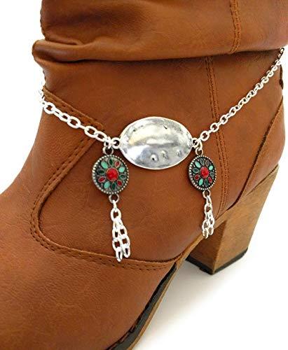 - Triple Concho Tassel Boot Bracelet Chain 16 In Adj