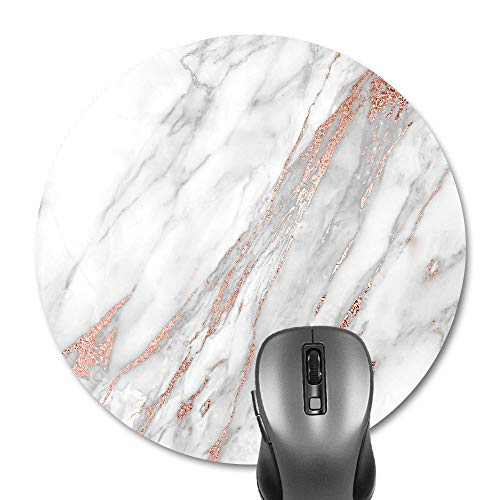 - Knseva Cute Marble White Grey & Rose Gold Round Mouse Pad, Circular Gaming Mouse Pads