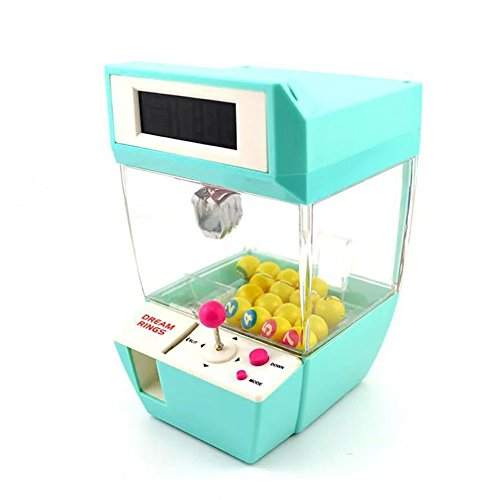 USXTian Mini Claw Machine Arcade Electronic Crane Claw Game Claw Grabber Balls Candy Machine Toy Alarm Clock (Green)