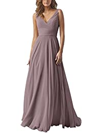 Double V Neck Elegant Long Bridesmaid Dress Chiffon Wedding Evening Dress
