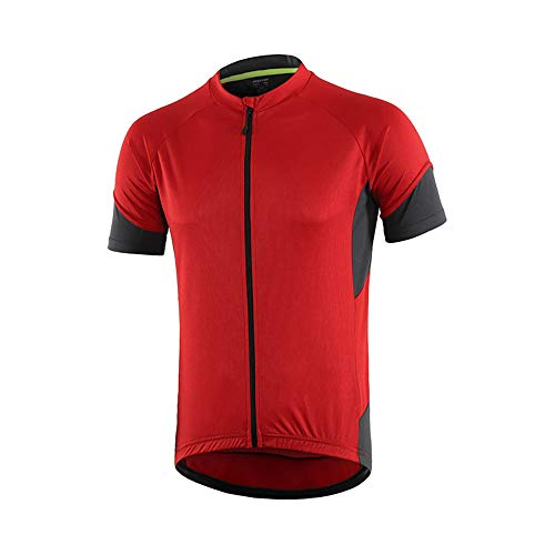 Men's Cycling Bike Jersey, Short Sleeve MTB Shirts with 3 Rear Pockets- Breathable,Quick Dry, Non-Slip Biking Shirt (Red, L)