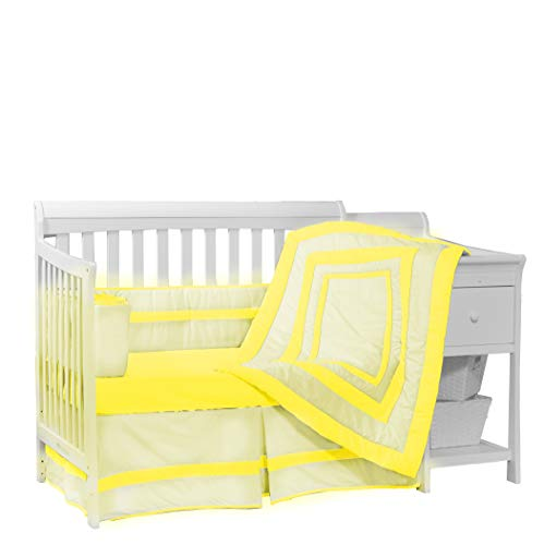 Baby Doll Bedding Modern Hotel Style 4 Piece Crib Bedding Set, Yellow ()