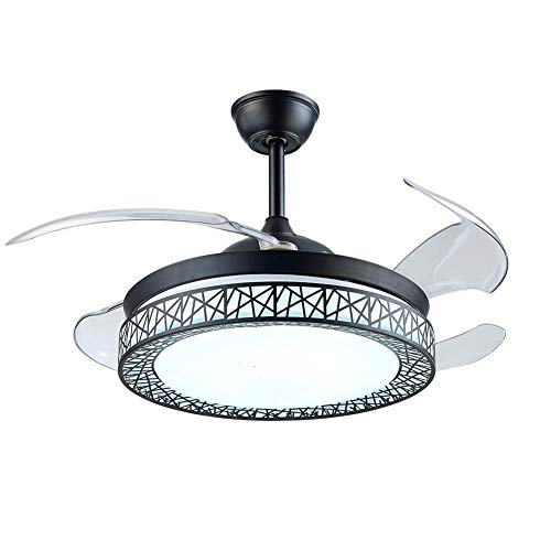 42Inch Ceiling Fans with Light 4 Retractable Blades LED Ceiling Fan 3 Color Change 3 Speeds Chandelier with Remote Control