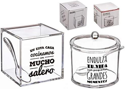 dcasa - Salero y azucarero de cocina original acrilico diseño frase .