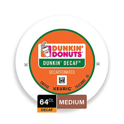 Dunkin' Donuts Original Blend Coffee K-Cup Pods, Decaf, Medium Roast, For Keurig Brewers, 64 Count ()