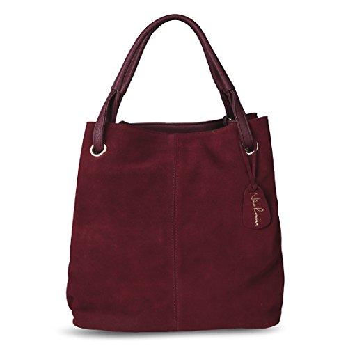 Nico Louise Women Real Split Suede Leather Tote Purse New Leisure Large Top-handle Bags Lady Casual Crossbody Shoulder Handbag (Genuine Suede Leather Handbag)