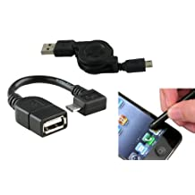 ECO-USB 2.0 A to Micro-USB Retractable Cable +Micro USB OTG to USB 2.0 Adapter compatible with Samsung Galaxy S III / S3+Stylus Pens for iPad , Samsung Galaxy Tab ,Motorola Xoom,ALL Touchscreen Cellphone,Tablets