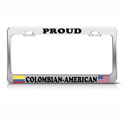 Colombian American Flags Heavy Duty Metal License Plate Frame Tag Border Perfect for Men Women Car garadge Decor