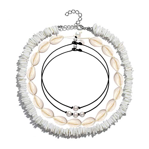 CENAPOG Pearls Shell Choker Necklace for Women Seashell Necklace Handmade Rope Cord Beach Jewelry for Summer