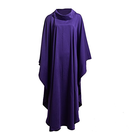 BLESSUME Church Priests Solid Chasuble Mass Vestments (Purple-Cowl Collar) by BLESSUME