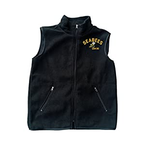 SEABEES Can do logo Black Fleece Zipped Vest with Pocket from Military