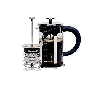 Cafe JEI French Press Coffee and Tea Maker 600ml with 4 Level Filtration System, Stainless Steel, Heat Resistant Borosilicate Glass, Included Coasters (Set of 4), Measuring Spoon, Cleaning Tool