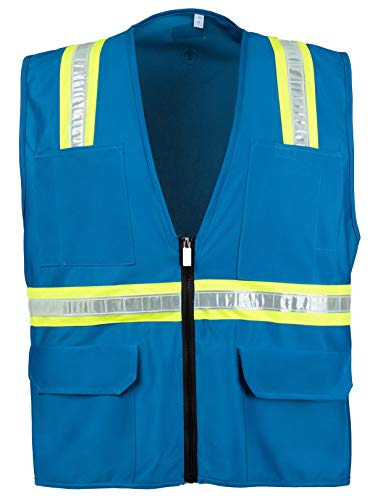 Warehouse Blue - Safety Depot Safety Vest High Visibility Reflective Tape with 4 Lower Pockets, 2 Chest Pockets with Pen Dividers 8038-LB (Light Blue, Medium)
