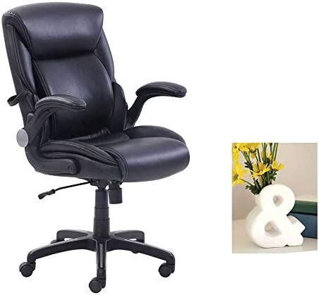AIR Lumbar Bonded Leather Manager s Office Chair, Black with Vase