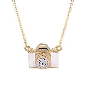 SpinningDaisy Gold Plated White Color Classic Film Camera Necklace