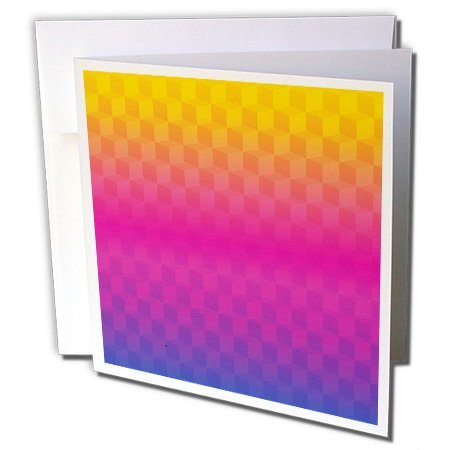 3dRose Anne Marie Baugh - Patterns - Yellow, Pink, Purple Stacked Squares Pattern - 1 Greeting Card with Envelope (gc_222422_5)
