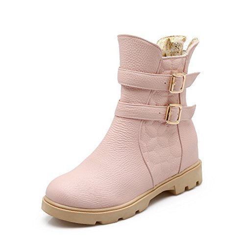 Fashion amp;N Ankle Leather Lining Womens Closed AN Toe Warm Smooth A Urethane Zip Boots Bootie DKU01896 Heeled Boots Cuff Waterproof Pink gqxwSF