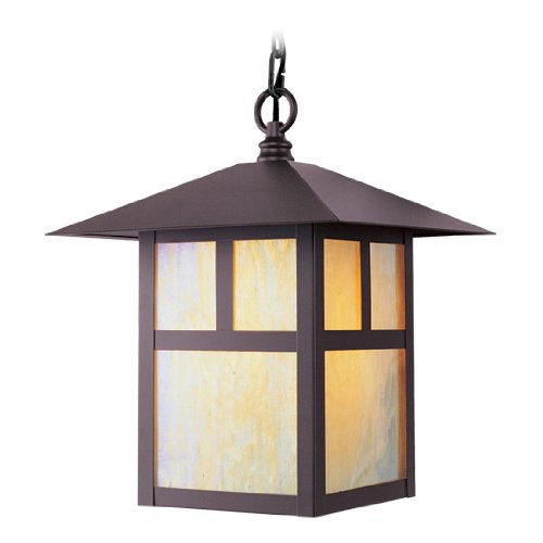 Livex Lighting 2141-07 Montclair Mission 1 Light Outdoor Bronze Finish Solid Brass Hanging Lantern with Iridescent Tiffany Glass ()