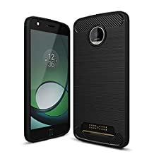 MOONCASE Moto Z Play Case, Carbon Fiber Resilient [Drop Protection] [Anti-Scratch] Rugged Armor Case Cover for Lenovo Moto Z Play Black