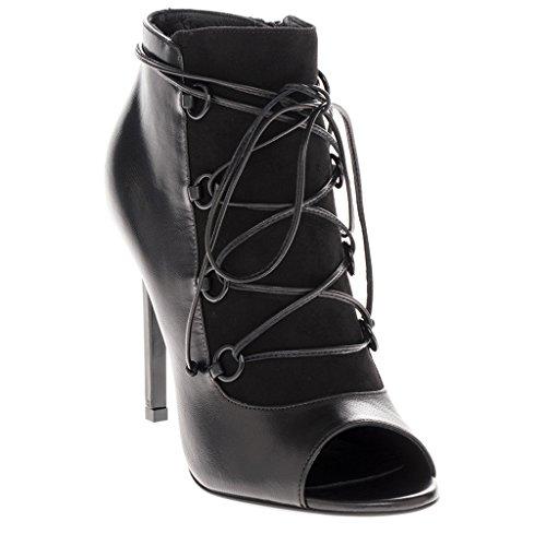 Saint Laurent Women's Jane 105 Open-Toe Leather & Suede Lace-Up Ankle Bootie Black EU 39 (US 9) (Yves St Laurent Shoes)