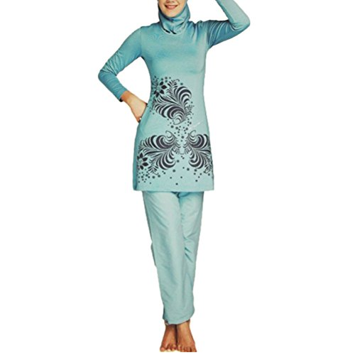 Zhhlaixing Ladies Traje de baño Beachwear Muslims Swimming Costume for Girls Hijab Swimwear UV Protection Sky Blue