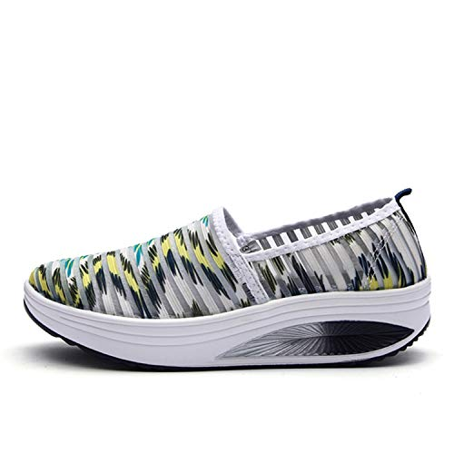 Women's Mesh Platform Walking Shoes Lightweight Slip-on Fitness Work Out Sneaker Shoes (5.5 M US Women=36, Green)
