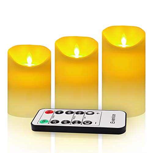 (Evenice Flameless Candles Flickering LED Candles Vanilla Scented Pillar Candles Flame Remote Candles Battery Wax Decorative with Timer and 10-Key Ivory White Set of 3)