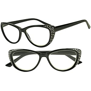 Sunglass Stop - Womens Black Rx Optical Cateyes Reading Eyewear Glasses with Bling