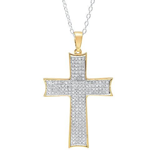Dazzlingrock Collection 0.45 Carat (ctw) 10K Round Diamond Men's Cross Pendant 1/2 CT (Silver Chain Included), Yellow Gold